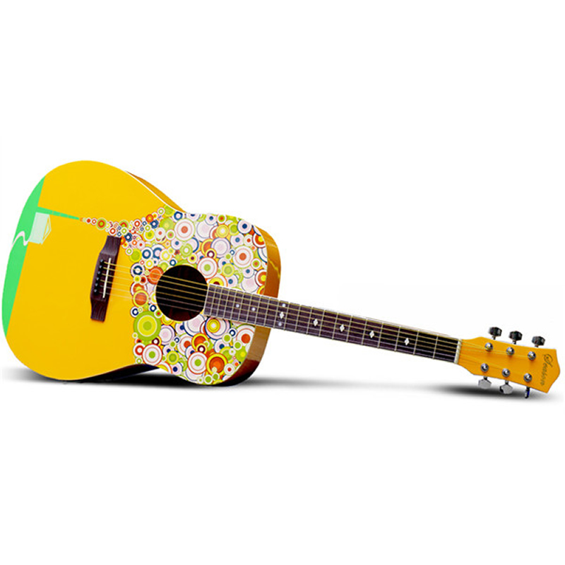 NEW SAYSN 41 Printing Art Acoustic Guitar Rosewood Fingerboard High Quality Beginner Guitarra With Backpack Capo Strap StringsNEW SAYSN 41 Printing Art Acoustic Guitar Rosewood Fingerboard High Quality Beginner Guitarra With Backpack Capo Strap Strings