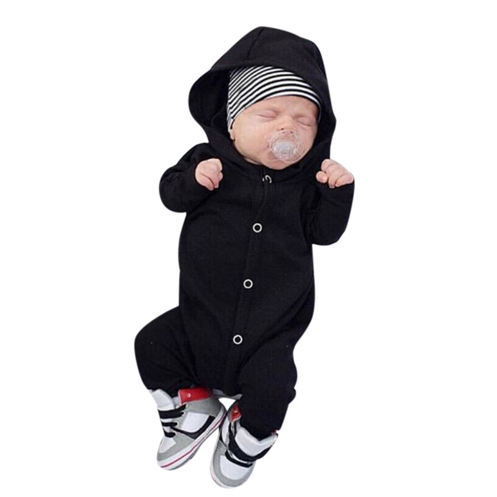Cool cute fashion newborn baby boy pure color cartoon cotton jacket hooded dress pants pajamas clothes clothes