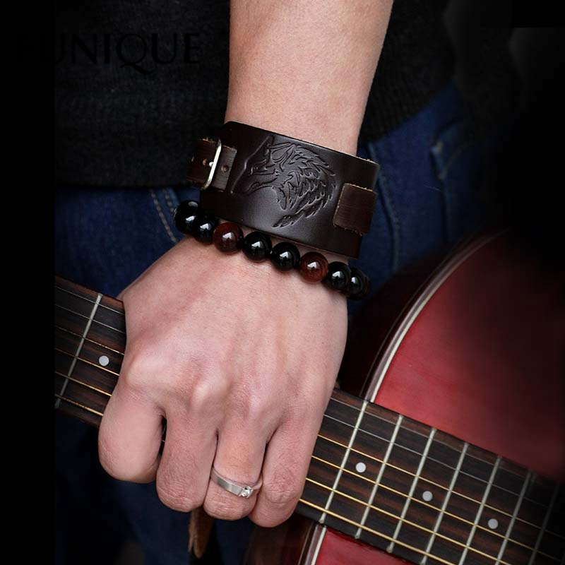 FUNIQUE Punk Rock Jewelry Gifts Men Vintage Imprint Wide Bracelets Black Brown Wolf Head Leather Bracelet Men Bangles
