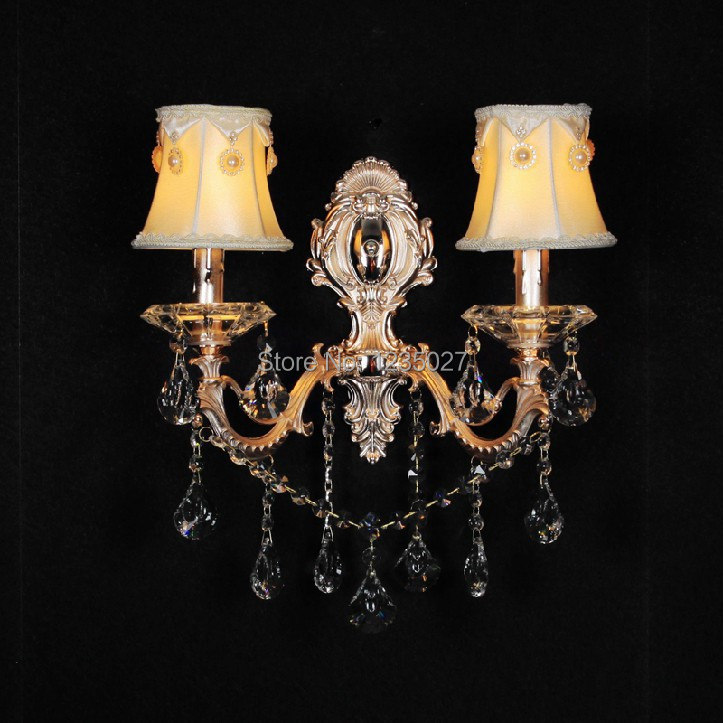 Double Head Crystal Decoration Gold Alloy Single side E14 candle Wall mounted Indoor crystal wall lamps lighting Free Shipping free shipping crystal wall lamp gold modern bed lighting fashion wall mounted lamps e14 wall sconces