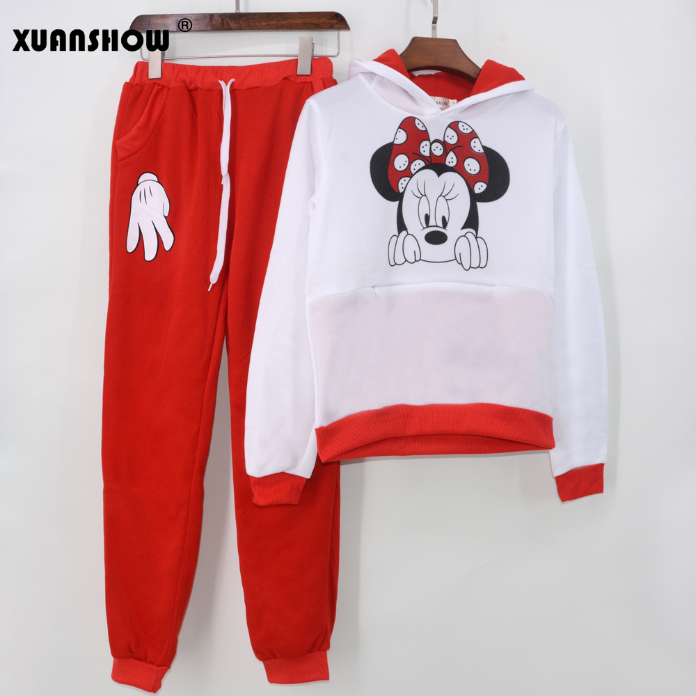 XUANSHOW Women Set Casual Sportswear Cute Ear Cartoon Mouse Printed With Hooded long-sleeved Suit Tenue Tracksuit  Femme HTB1rJtUX
