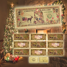 New Arrivels American Gold Banknote 2 $ Christmas Colorful Plated Paper Money with Certificate Card for Gifts