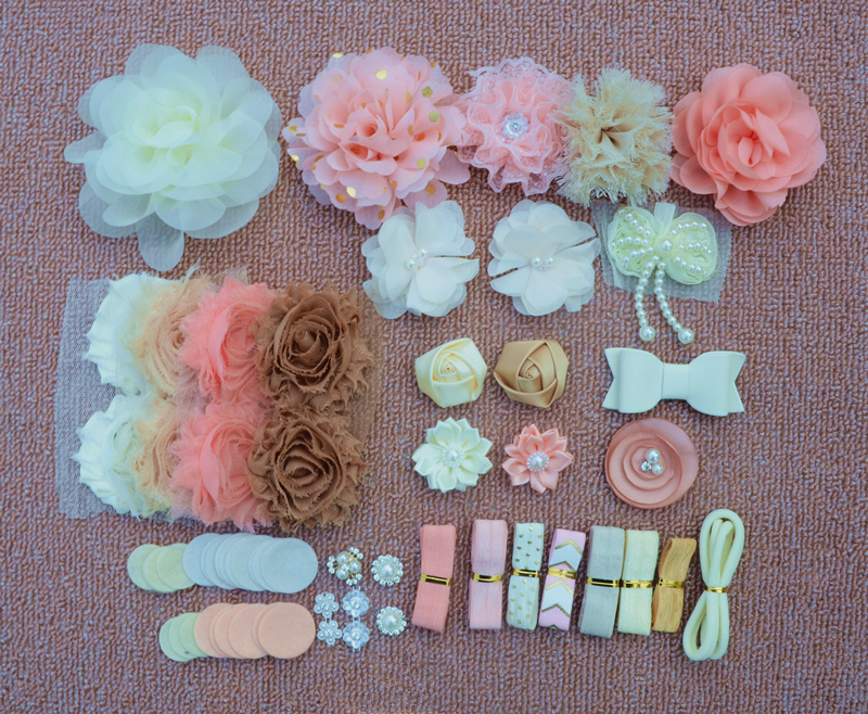Diy kit de bandana de chuveiro do bebê kit de festa de aniversário diy conjunto de cabelo acessórios de cabelo headbands fazendo kit diy headbands
