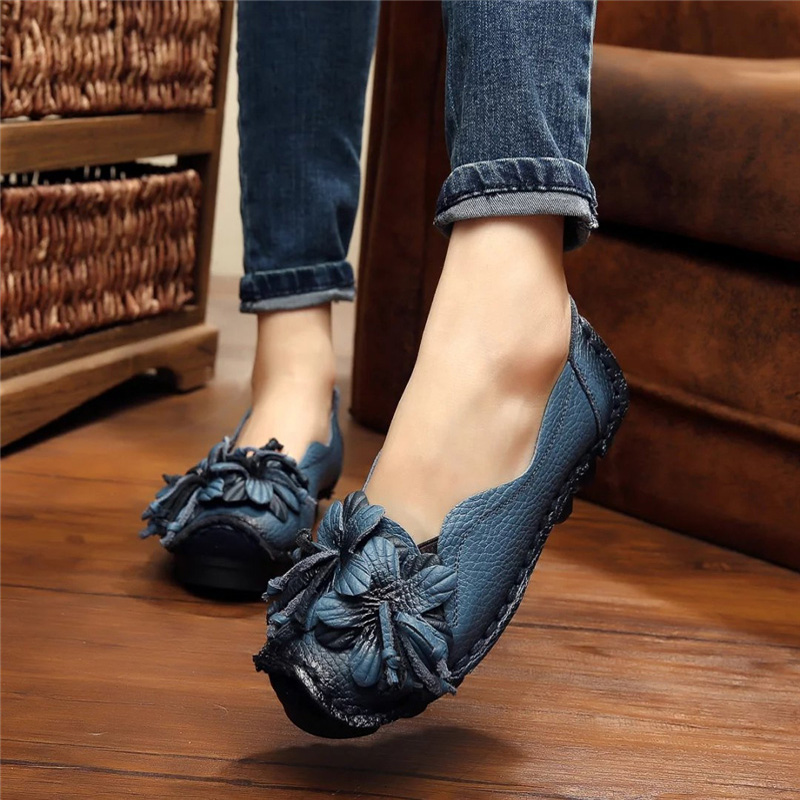 Genuine Leather Flowers Women Handmade Soft Flat Bottom Shoes Casual Sandals Retro Flat Shoes Summer Ballet Flats size 35-42 tramp eagle