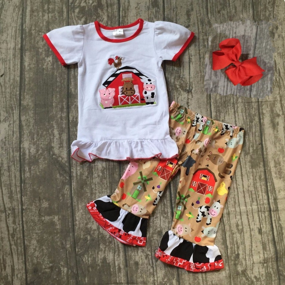 купить new arrival baby girls summer clothing children cowgirls outfits with capri pants children Farm girls Spring outfits with bows онлайн