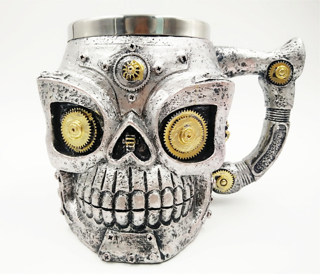 RESIN + STAINLESS STEEL MECHANICAL GEAR SKULL MUG