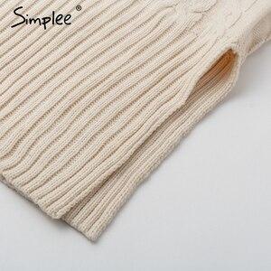 Image 5 - Simplee אלגנטי צד פיצול חם ארוך שרוול נשים שמלת גולף fit סתיו חורף סוודר שמלה לבן שמלות אופנה 2018