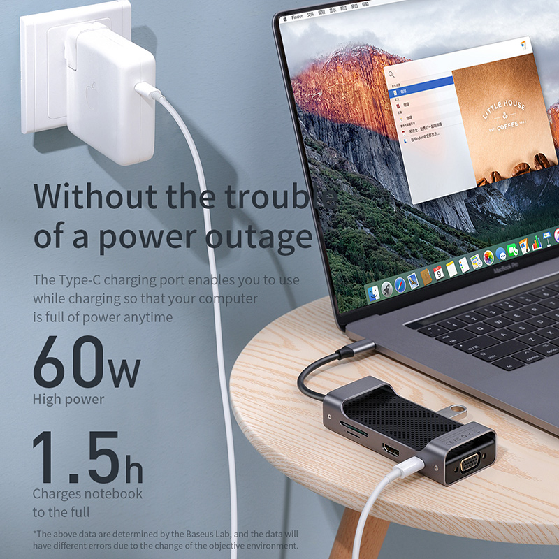 Baseus USB C HUB Type C to USB3.0 HDMI VGA RJ45 HUB Multi USB 3.0 Power Adapter Type-c HUB For MackBook Pro Air USB-C Splitter