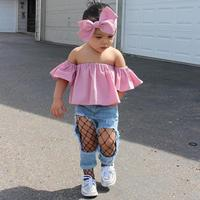 ARLONEET 2017 Toddler Kids Baby Girl Off Shoulder Ruffle T-Shirt Tops Summer Clothes Outfits