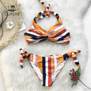 Image 1 - Cupshe Navy En Oranje Gestreepte Twist Halter Bikini Sets Vrouwen Sexy Thong Twee Stukken Badpakken 2020 Meisje Strand Badpakken