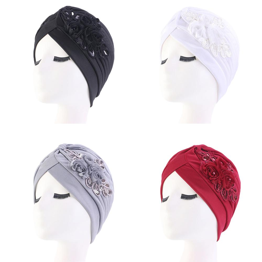 India Hat Turban Hat Muslim Women Sequin Flower Chemo Cap Hair Loss Cap Head Wrap Beanie Skullies Islamic Pleated Bonner Arab