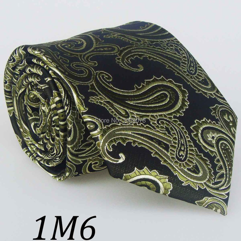 Olive Green Paisley Ties 1M6+++