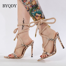 BYQD Summer Thin Espadrilles Women Sandals Heel Pointed Fish Mouth Snake Print Lace Up  Animal Ladies Shoes