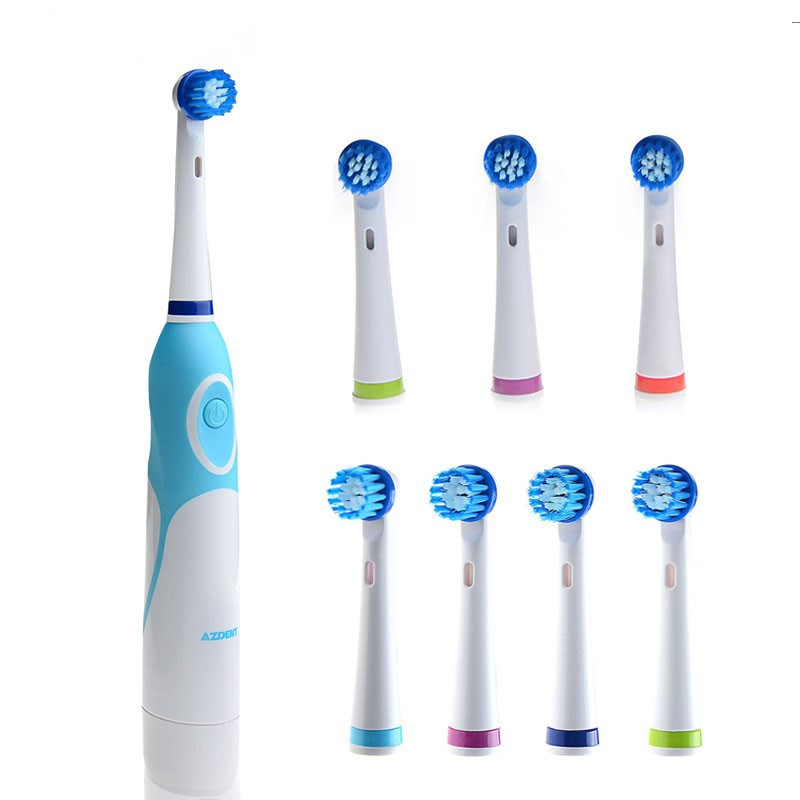 AZDENT Electric Toothbrush Non-Rechargeable with 8 Brush Heads Battery Operated Rotation Teeth Brush Oral Hygiene Tooth Brush 2pcs philips sonicare replacement e series electric toothbrush head with cap