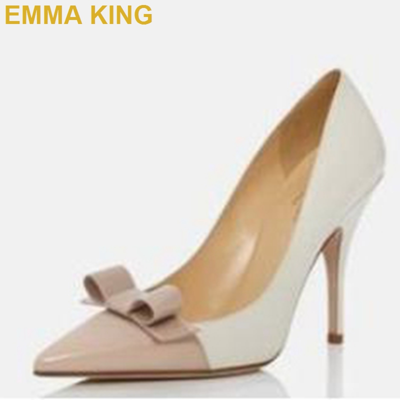 Fashion Women Pumps High Heels Shoes Pink White Patchwork PU Leather Stilettos Pointy Toe Bowtie Decor Shallow Pumps Shoes WomanFashion Women Pumps High Heels Shoes Pink White Patchwork PU Leather Stilettos Pointy Toe Bowtie Decor Shallow Pumps Shoes Woman