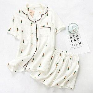 Image 5 - Women Pajamas Set Summer Comfort Gauze Cotton Turn down Collar Sleepwear Set Ladies Thin Loose Cartoon Carrot Printed Homewear