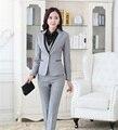 Primavera Outono Senhoras Formais Pant Ternos para Mulheres de Negócio Ternos Cinza Blazer Preto e Conjuntos de Jaqueta Elegante Estilo OL