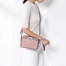 Vvmi bolsos leather woman shoulder bag crossbody bags Rivet gem packages mini flap bag