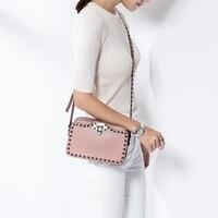 Vvmi Split Leather Woman Shoulder Bag Crossbody Bags Rivet Gem Packages Flap Bag