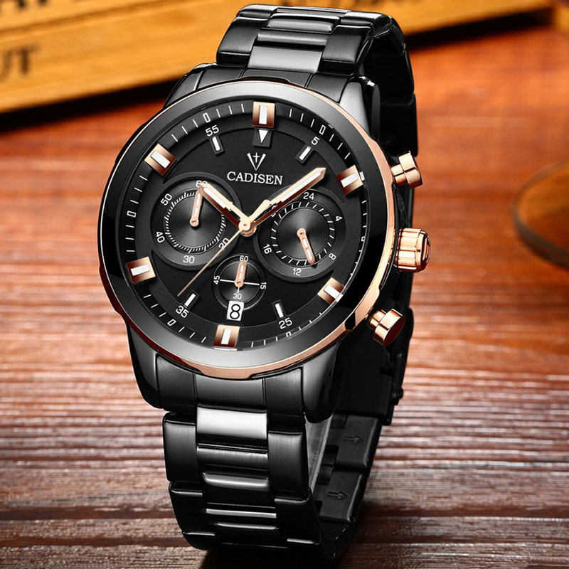 CADISEN Watches Men Brand Sport Full Steel Quartz-watch Reloj Hombre Army Military Wristwatch Relogio Masculino 2018 New luxury brand casima men watch reloj hombre military sport quartz wristwatch waterproof watches men reloj hombre relogio