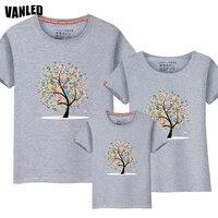 VANLED 3D In Gia Đình Phù Hợp Với Trang Phục Mùa Hè Mát Mẻ Con Gái Mẹ T-Shirts Trẻ Em Giản Dị Tees Quần Áo Bé T-Shirt