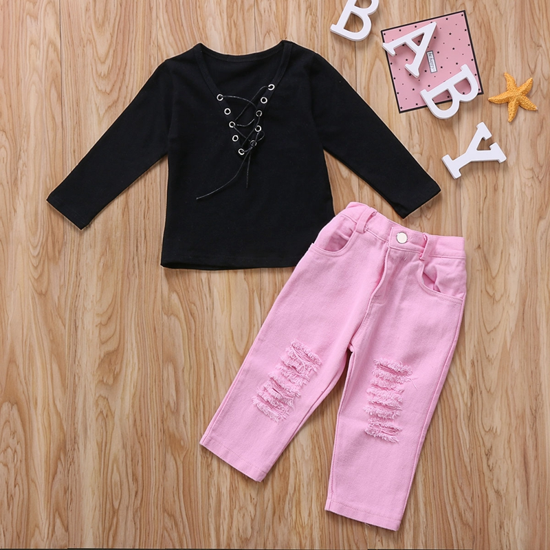 Holes Jeans Pants Set 2PCS Toddler Kids Baby Girls Clothes Outfits T-shirt Tops