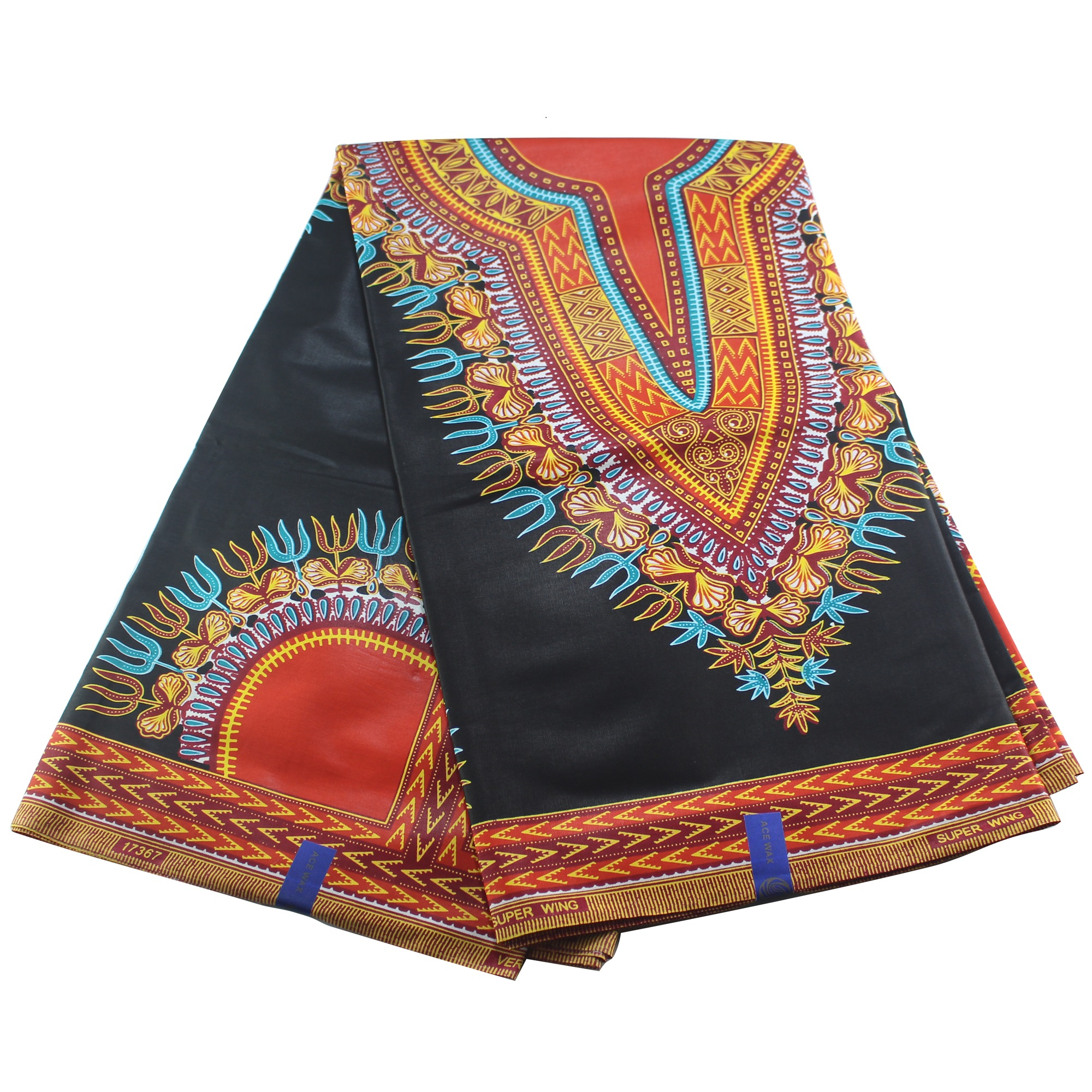 New Dashiki Thick Black Red African Dutch Wax Colorful Ankara Material 100% Cotton