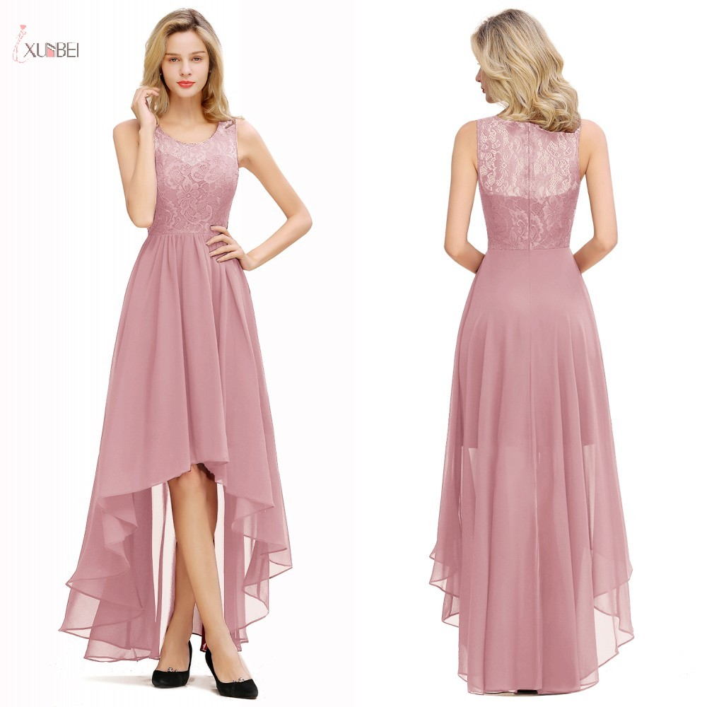 Pink Chiffon Long Bridesmaid Dresses 2019 High Low Wedding Guest Party Gown Sleeveless Lace Flower Vestido Madrinha