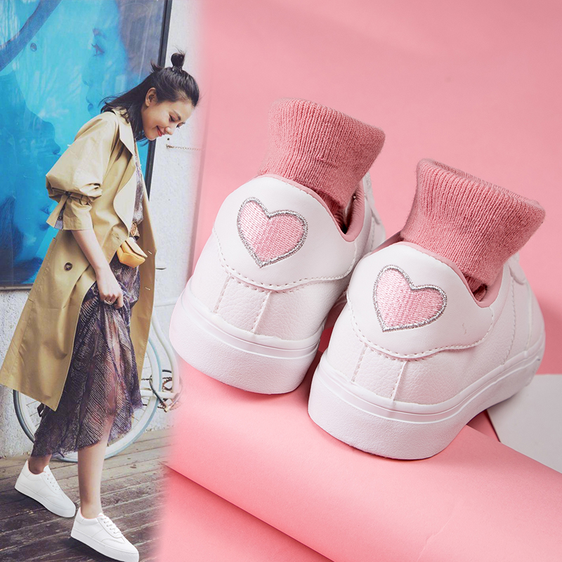 HUANQIU 2018 Ins Hot Selling Women White Shoes with Heart on Back All-match Students Chic Canvas Shoes Ulzzang Harajuku Pink valentine hot pink rose heart white top hot pink heart petal pettiskirt nb 8year mapsa0147
