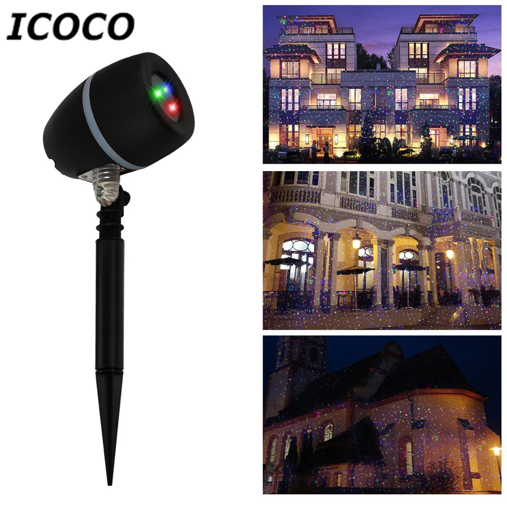 ICOCO Outdoor LED Stars Laser Projector Flood Light Remote Control Red Green Blue Showers Light Garden Christmas New Year Decor icoco outdoor led stars laser projector flood light remote control red green blue showers light garden christmas new year decor
