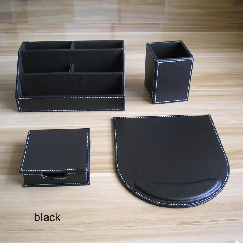4PCS/set PU Leather Wood Office Desk Organizer Stationery Holder Organizer Organizador De Escritorio Y Papeleria Black BrownK219