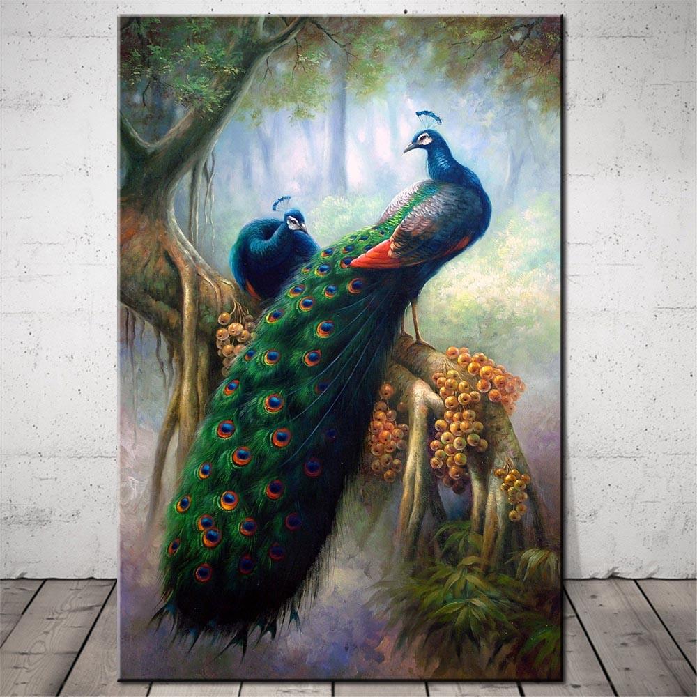 Aliexpress.com : Buy Peacock Feather Canvas Art Print ...