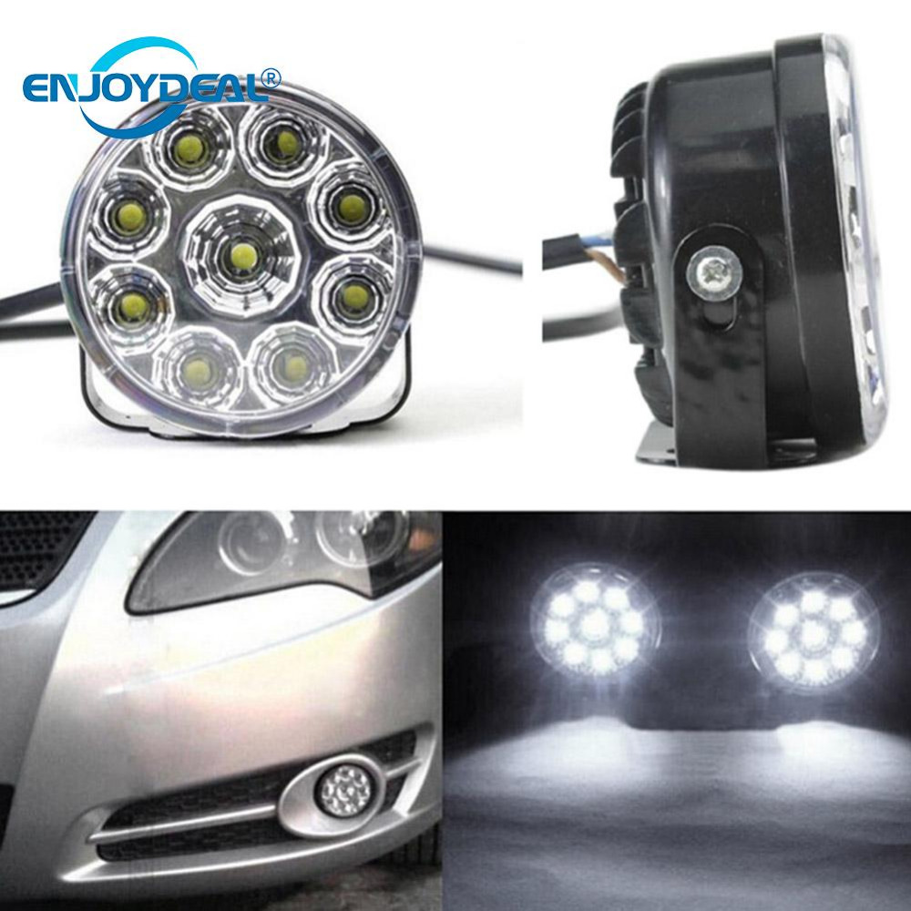DRL Round Daytime Running Light Car Fog Lamp Day Driving Lamp 12V 9 LED Auto Headlight White Fog Light Driving Bulb Parking Lamp 2pcs universal car daytime running light led cob 12v drl auto driving front fog lamp white bulb waterproof 6000k