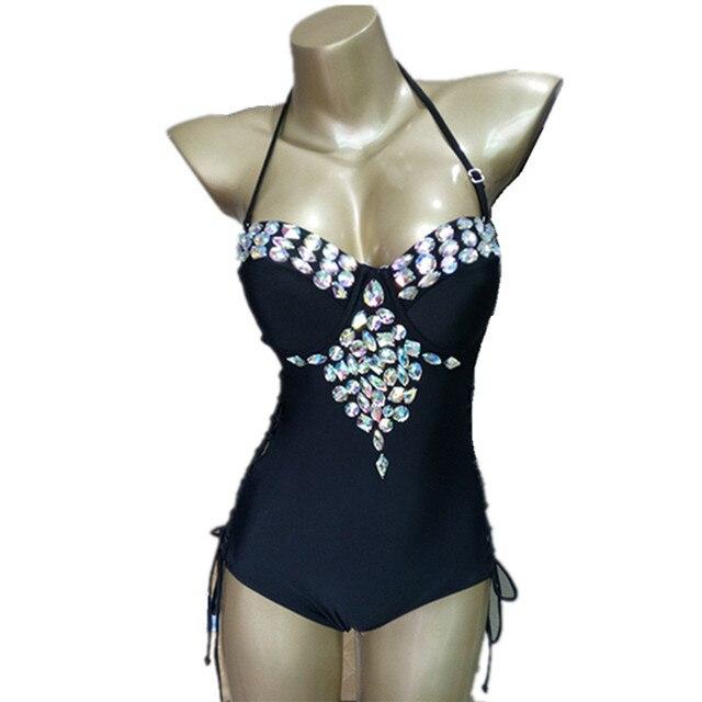 e3f6b63efa New One Piece Swimsuit Women Swimwear Sexy Crystal diamonds Swimsuit Female  Retro Bandage Bathing Suits Beachwear Monokini