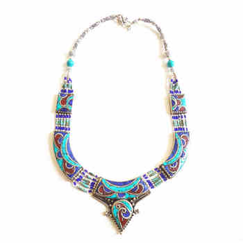 TNL591 Master Design Charming Nepal Indian Copper inlaid Stone Big Pendant Necklace Free ship - DISCOUNT ITEM  50% OFF All Category