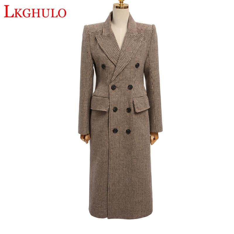Kadın Giyim'ten Yün ve Karışımları'de LKGHULO Kadın Yün Ceket Ekose Kadın Gevşek Uzun Kruvaze Yün Ceket Kış Ceket Yün Palto 2018 Coats W563'da  Grup 1