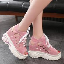 Summer Lace Up Casual Shoes New Fashion Women Breathable Black Pink Woman Sneaker Size