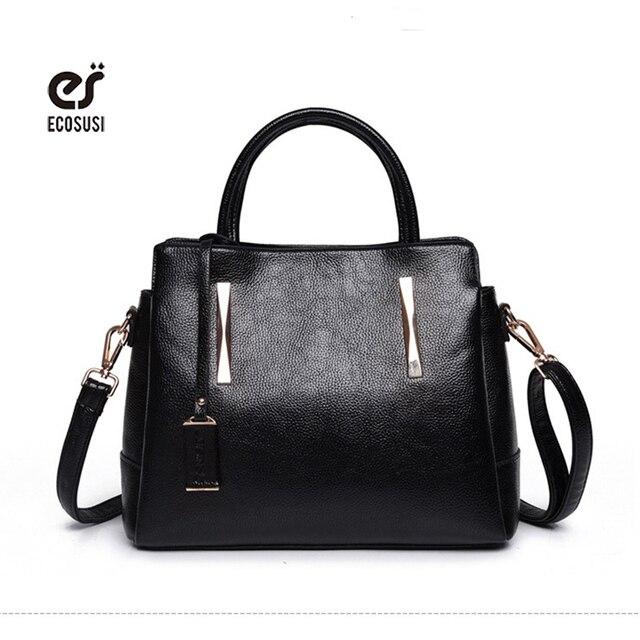 9ec7ea7a856f3 Ecosusi kobiet torebki skórzane torby luksusowe torebki damskie torebki  stylowe panie torebka jednolity czarny torba na