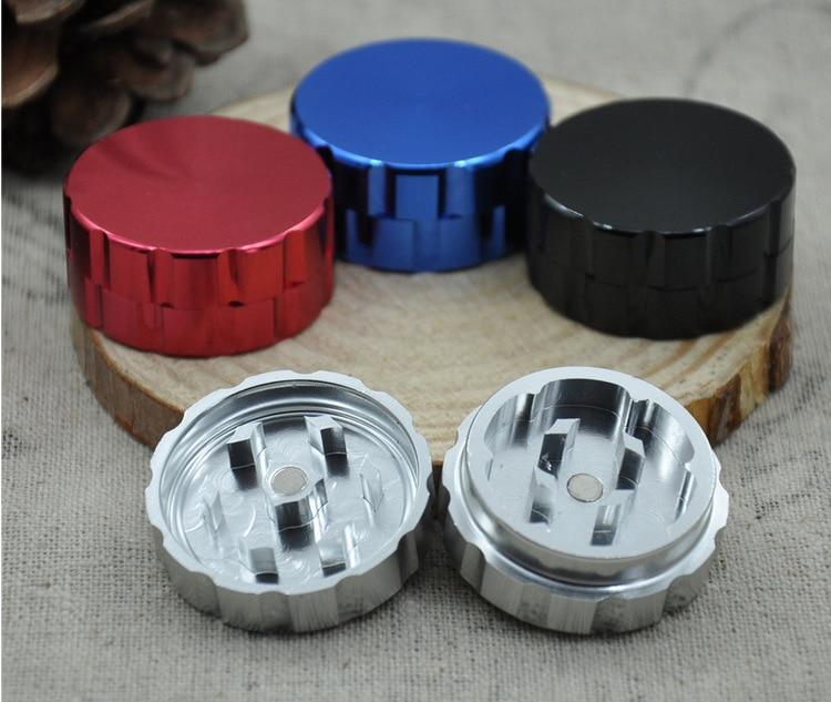 10pcs/lot beer cap shape metal grinder hand smoke detector aluminium 2 layer grinder tobacco smoke grinder