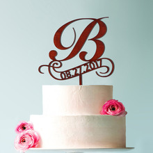 Personalized Name Letter b Wedding cake topper, personalized rustic wooden topper leaf vorder