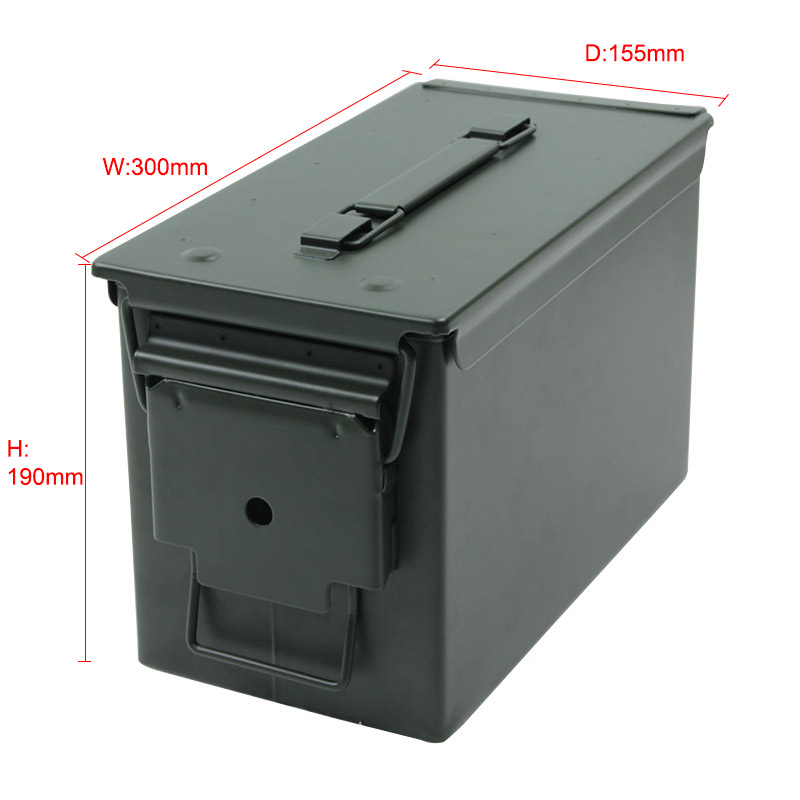50 Cal Ammo Can All-Metal Box Military & Army Styling Stackable Gun Ammo Case Storage Holder Box Heavy duty Tactical Bullet box (18)