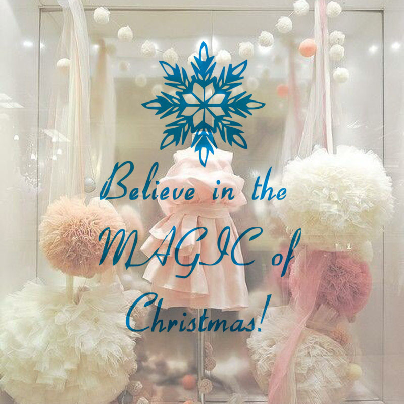 Believe In Magic Of Christmas Wall Decals Fashion Design Snowflakes Vinyl Art Decals Christmas Decoration For Home Shop