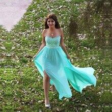 Split Side Prom Kleider 2017 Schatz Sleeveless Backless Sweep Zug Chiffon mit Spitze A-line Abendkleid 2016