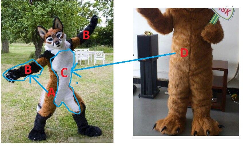 Costumes de fourrure de renard loup sur mesure rapide costume de loup et mains (pas de pieds et de tête)