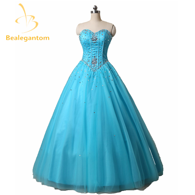 Bealegantom Modische Günstige Quinceanera Kleider 2018 Ballkleid mit Perlen Kristall Lace Up Sweet 16 Kleider Auf Lager QA967