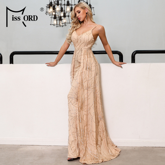 Missord 2019 Sexy V Neck Off Shoulder Glitter Maxi Dresses Female Backless Elegant Prom Maxi Dress  Vestidos FT19292 1