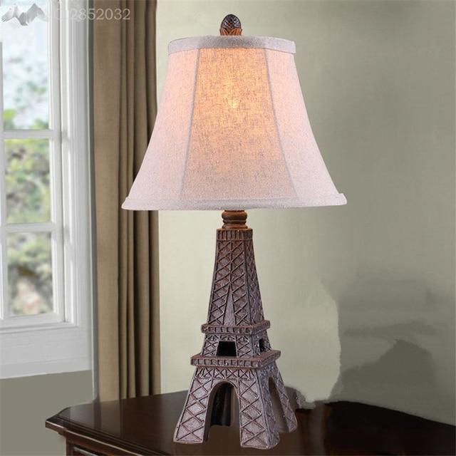 Superbe JW_European Retro Creative Eiffel Tower Table Lamp Resin Cloth Desk Light  Bedroom Bedside Lamp Living Bar