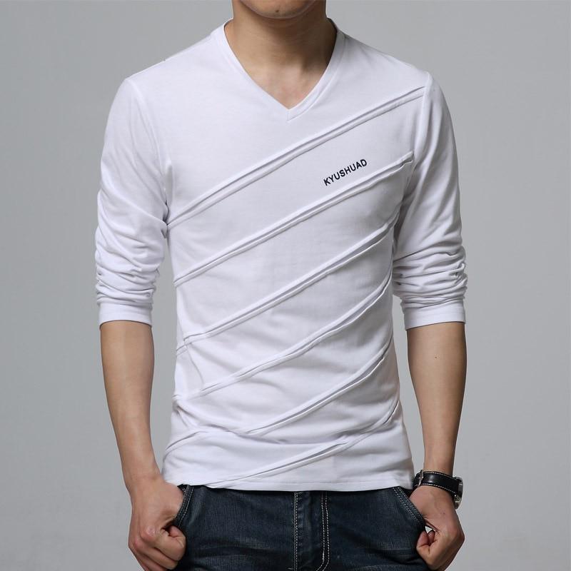 2018 maomaoleyenda Modetrend Herbst T-shirt Männer V Kragen Langarm - Herrenbekleidung - Foto 4