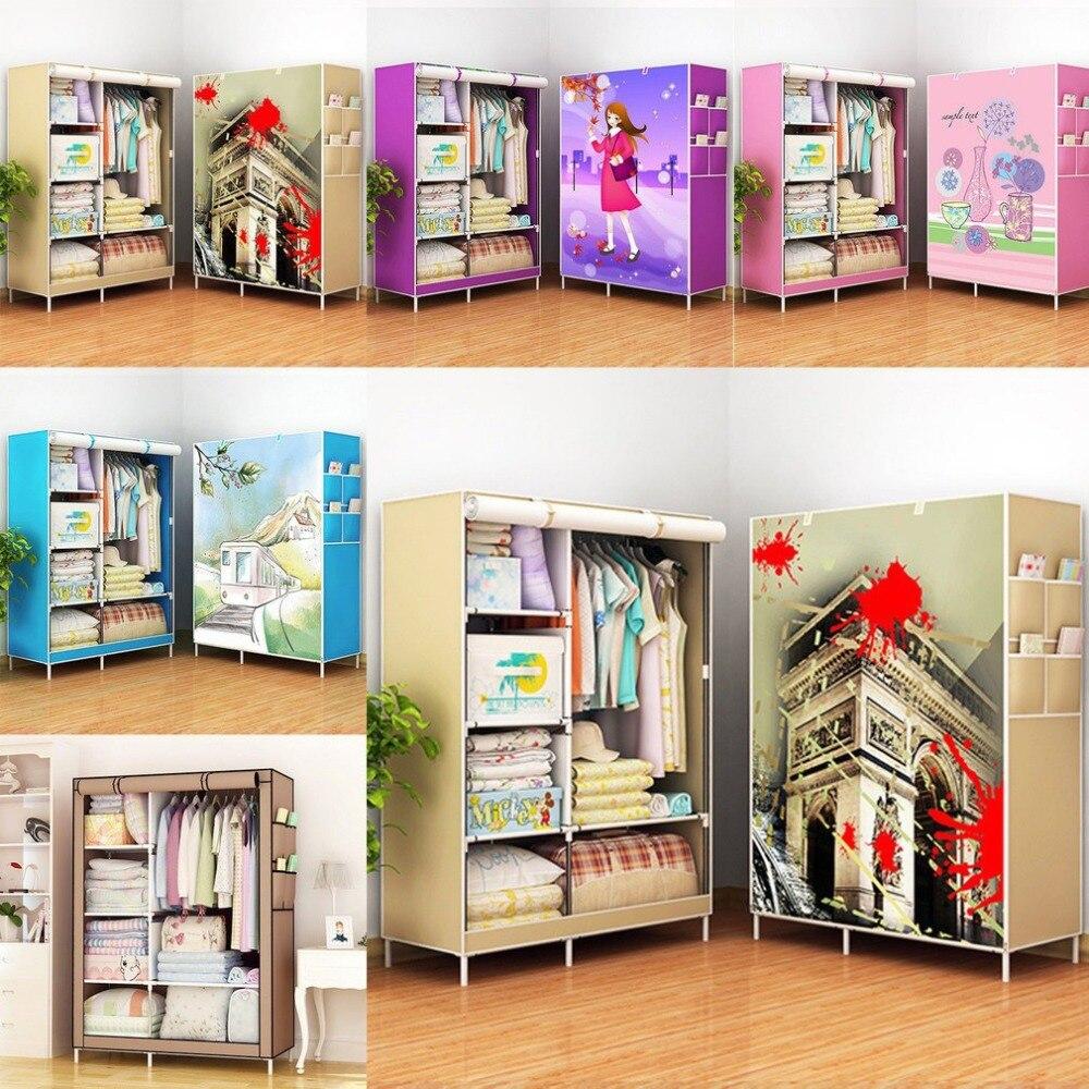 Armoire de rangement grande capacité Simple placard Double suspendus armoires d'assemblage plier tissu meubles renfort rangé vêtements
