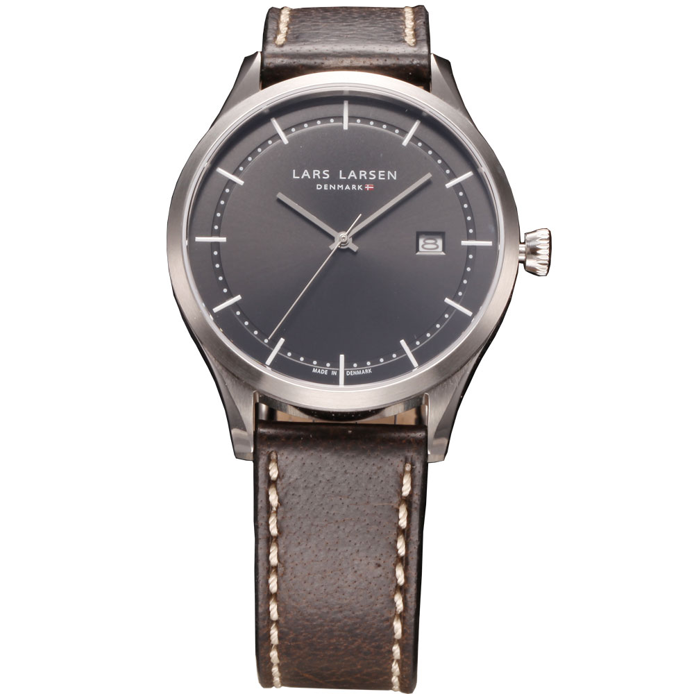 Fashion Denmark men quartz watches simple style wristwatch  with date men's waterproof watch 5ATM brown genuine leather band